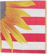 Sunflower Flag Wood Print