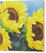 Sunflower Foursome Wood Print