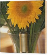 Sunflower In A Bottle Or Is It  Vase. Wood Print