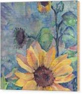 Sunflower In Bloom Wood Print