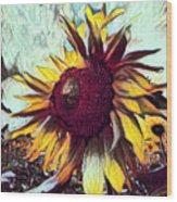 Sunflower In Deep Tones Wood Print