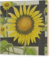 Sunflower In Your Face Wood Print