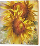 Sunflower Light Wood Print