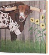 Sunflower Longhorn Wood Print