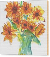 Sunflower Medley II Watercolor Painting By Kmcelwaine Wood Print