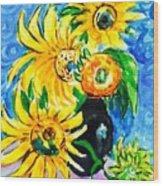 Sunflower On Black Vase Wood Print