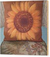 Sunflower Pillow Wood Print