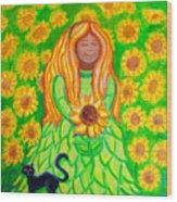 Sunflower Princess Wood Print