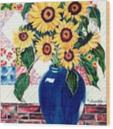 Sunflower Quilt Wood Print
