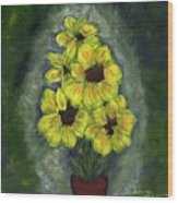 Sunflower Season - www.jennifer-d-art.com Wood Print