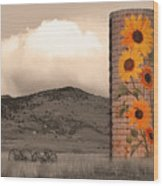 Sunflower Silo In Boulder County Colorado Sepia Color Print Wood Print