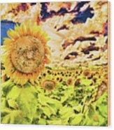 Sunflower Storm Wood Print
