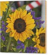 Sunflower Triplets Wood Print