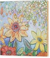 Sunflower Tropics Wood Print