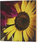 Sunflower With Dahlia Wood Print