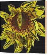 Sunflower With Stone Effect Wood Print
