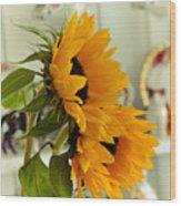 Sunflowers And Afternoon Tea Wood Print