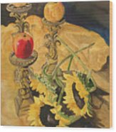 Sunflowers And Apples Wood Print