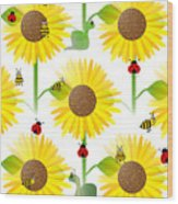 Sunflowers And Bees Wood Print