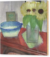 Sunflowers And Blue Bowls Wood Print