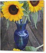 Sunflowers And Blue Vase - Still Life Wood Print
