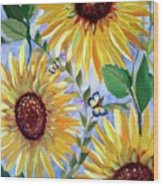 Sunflowers And Butterflies Wood Print