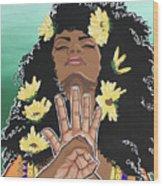 Sunflowers And Dashiki Wood Print