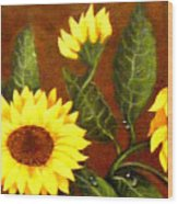 Sunflowers And Dewdrops Wood Print