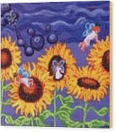Sunflowers And Faeries Wood Print