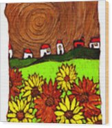 Sunflowers And Fields Wood Print