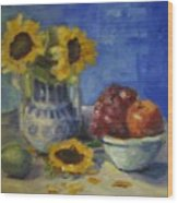 Sunflowers And Fruit Wood Print