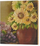 Sunflowers And Grapes Wood Print