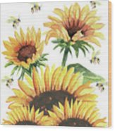 Sunflowers And Honey Bees Wood Print