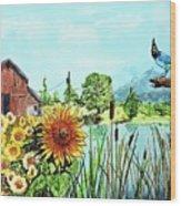 Sunflowers And Jaybird Wood Print