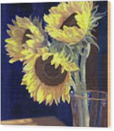 Sunflowers And Light Wood Print