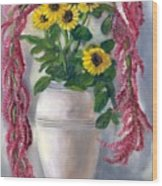 Sunflowers And Love Lies Bleeding Wood Print