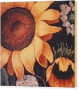 Sunflowers And More Sunflowers Wood Print