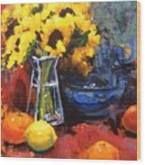 Sunflowers And Oranges Wood Print