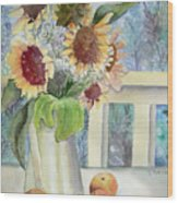 Sunflowers And Peaches Wood Print