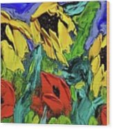 Sunflowers And Poppies - Little Treasures Series Wood Print