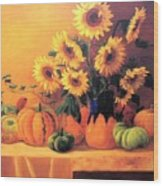 Sunflowers And Squash Wood Print
