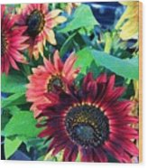 Sunflowers At A Fair Wood Print