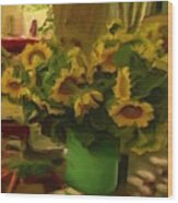 Sunflowers At The Market Wood Print