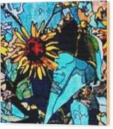 Sunflowers Blue Wood Print