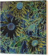 Sunflowers By Wall Wood Print
