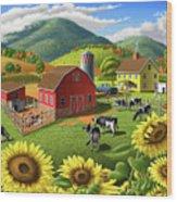 Sunflowers Cows Appalachian Farm Landscape - Rural Americana - Farm Animals - 1950 Farm Life - Barn Wood Print