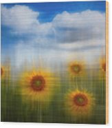 Sunflowers Dreamscape Wood Print
