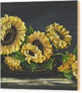 Sunflowers From The Garden Wood Print