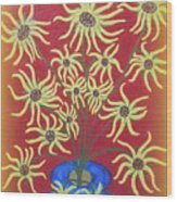 Sunflowers In A Blue Vase Wood Print