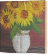 Sunflowers In A Clay Pot Wood Print
